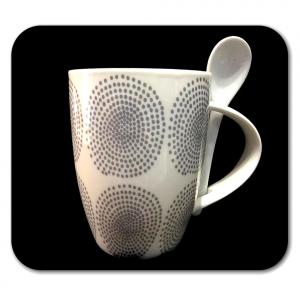TAZZA bianca con cerchi grigi e cucchiaino in ceramica