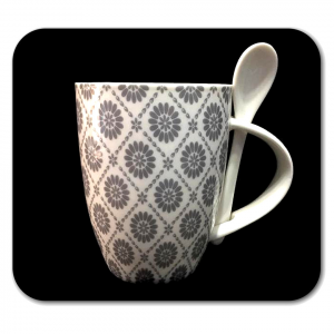TAZZA bianca con fiori grigi e cucchiaino in ceramica