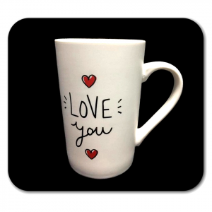 TAZZA bianca con scritta I LOVE YOU in ceramica
