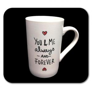 TAZZA bianca con scritta YOU & ME in ceramica