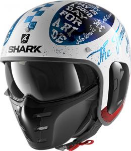 Casco jet Shark S-DRAK 2 TRIPP IN in fibra Bianco Blu Rosso