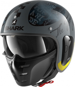 Casco jet Shark S-DRAK 2 TRIPP IN in fibra Antracite Giallo