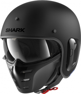 Casco jet Shark S-DRAK 2 BLANK MAT in fibra Nero Opaco