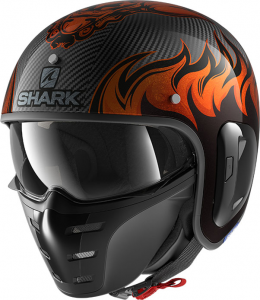 Casco jet Shark S-DRAK CARBON 2 DAGON in fibra Nero Carbon Arancio