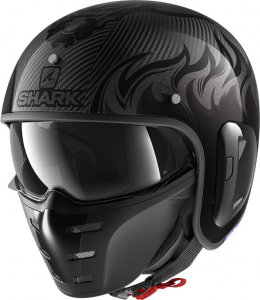 Casco jet Shark S-DRAK CARBON 2 DAGON in fibra Nero Carbon Antracite
