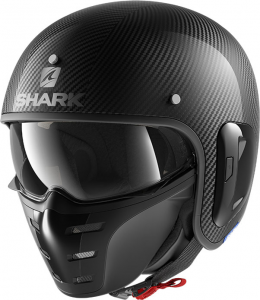Casco jet Shark S-DRAK CARBON 2 SKIN in fibra Nero Carbon