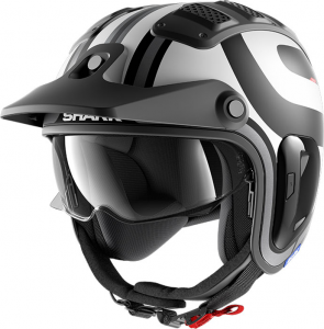 Casco jet Shark X-DRAK 1.2 THRUST-R Mat in fibra Nero Bianco Antracite