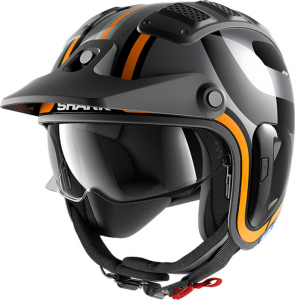 Casco jet Shark X-DRAK 1.2 THRUST-R in fibra Nero Antracite Arancio