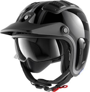 Casco jet Shark X-DRAK 1.2 THRUST-R in fibra Antracite Nero