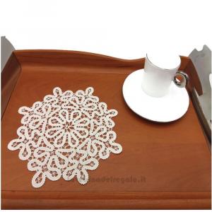 Centrino Bianco rotondo realizzato con il Tombolo 19 cm - Handmade in Italy