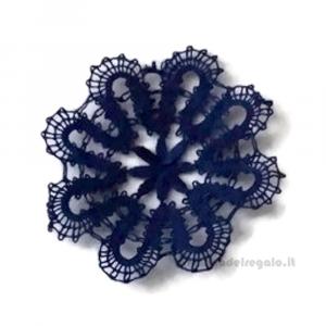 Fiorellino Blu Scuro realizzato con Tombolo 5.5 cm - Handmade in Italy