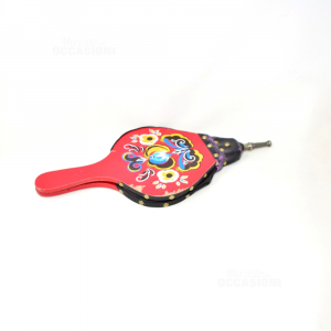 Soffietto Mantice Per Caminetto Legno Rosso Decorato 45cm