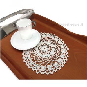 Centrino Bianco rotondo ad uncinetto 18 cm - Handmade in Italy