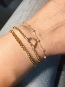 bracciale in ottone galvanizzato , microcristalli lilla e cuore