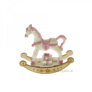 Cavallo a Dondolo Rosa 9 cm - Bomboniera battesimo bimba