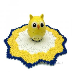 Barattolino gufetto con centrino bianco, giallo e blu ad uncinetto 23 cm - Idea Regalo