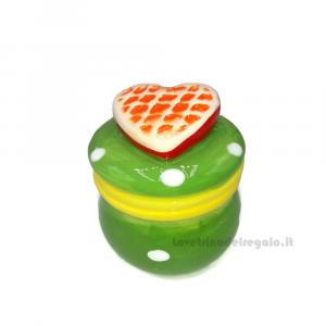 Barattolino verde in ceramica con cuore 5x7 cm - Idea Regalo