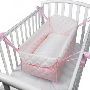 Riduttore  letto riduttore 360° completo trapuntato fantasia pois rosa
