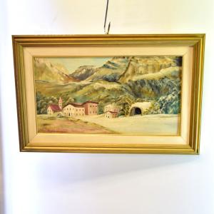 Quadro Dipinto Su Tavola 58*38cm Paesaggio Di Montagna Con Galleria
