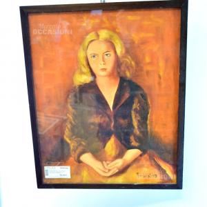 Quadro Rugio V. 976 Ritratto Di Una Ragazza Bionda Su Sfondo Arancione 52*43 Cm