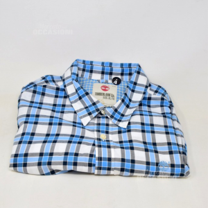 Camicia Uomo Timberland Tg Xl Quadretti Bianco Nero Azzurro 100% Cotone