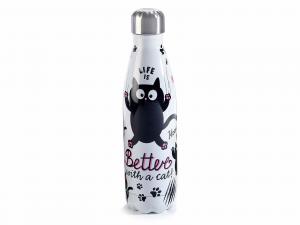 Bottiglia termica linea gatto da 500 ml in acciaio inox Con scovolino pulisci bottiglia(532346)