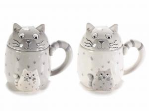 Tazze a gatto in ceramica colorata con coperchio e manico a coda (713974)