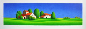 Fiorentini Arturo Serigrafia Vita sui prati verdi Form. cm 50x140