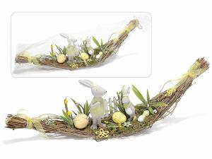 Centrotavola in legno intrecciato con conigli e decori - PASQUA