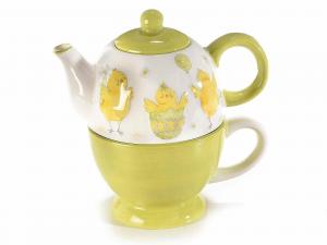 Set teiera e tazza ceramica con decoro pulcini