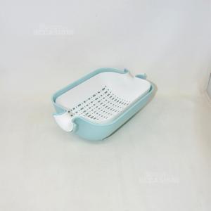 Scolaverdure Doppio Plastica Azzurro Bianco