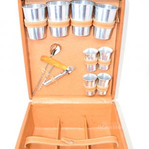 Valigietta In Ecopelle Set Per Assaggio Vino Con Bicchieri In Alluminio