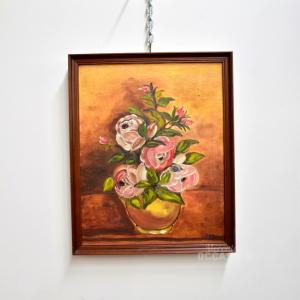 Dipinto Vaso Fiori Firmato 44x54cm Cornice Legno Scuro