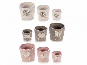 Set 3 vasi in ceramica c/decori in rilievo e cuore applicato