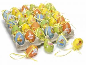 Espositore con 30 uova in plastica dipinte a mano da appendere