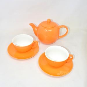 Teiera Ceramica Maxwell Williams Arancione +2 Tazze Con Piattini