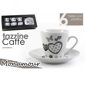 Gicos Set 6 Tazzine da Caffè con Piattino Monamour