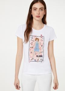 T-shirt Liu Jo jeans con stampa e applizioni WA0387J5003
