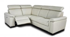 Divano relax angolare bianco in pelle a 4 posti maggiorati con movimento elettrico, poggiatesta regolabili