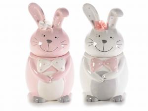 2 barattoli portadolci in ceramica colorata a coniglio Pasqua