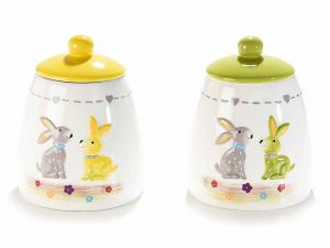 2 barattoli in ceramica con decoro coniglietti in rilievo