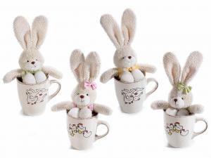 4 tazze in ceramica decorata anticata c/coniglio portadolci