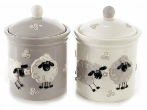 2 barattoli portadolci ceramica colorata c\pecore in rilievo