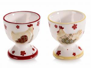 6 Portauovo in ceramica colorata con decoro a gallina