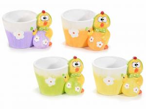 4 vasetti in ceramica colorata con pulcino