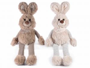 2 coniglietti gambelunghe di peluche con foulard
