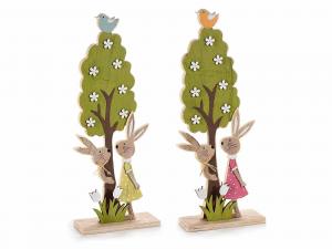 2 alberelli in legno colorato con coppia di coniglietti