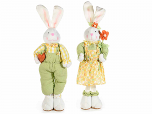 2 Conigli decorativi in stoffa con vestito