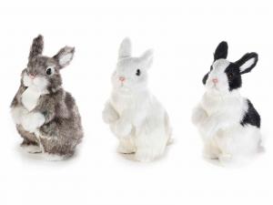3 Conigli decorativi in finto pelo