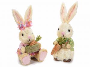 2 Coniglietti in fibra naturale con carota